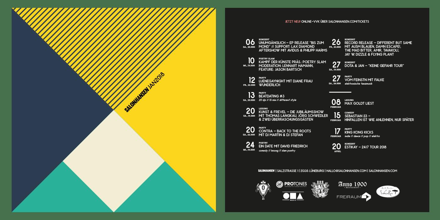 Flyer und Poster Design für den Salon Hansen in Lüneburg.