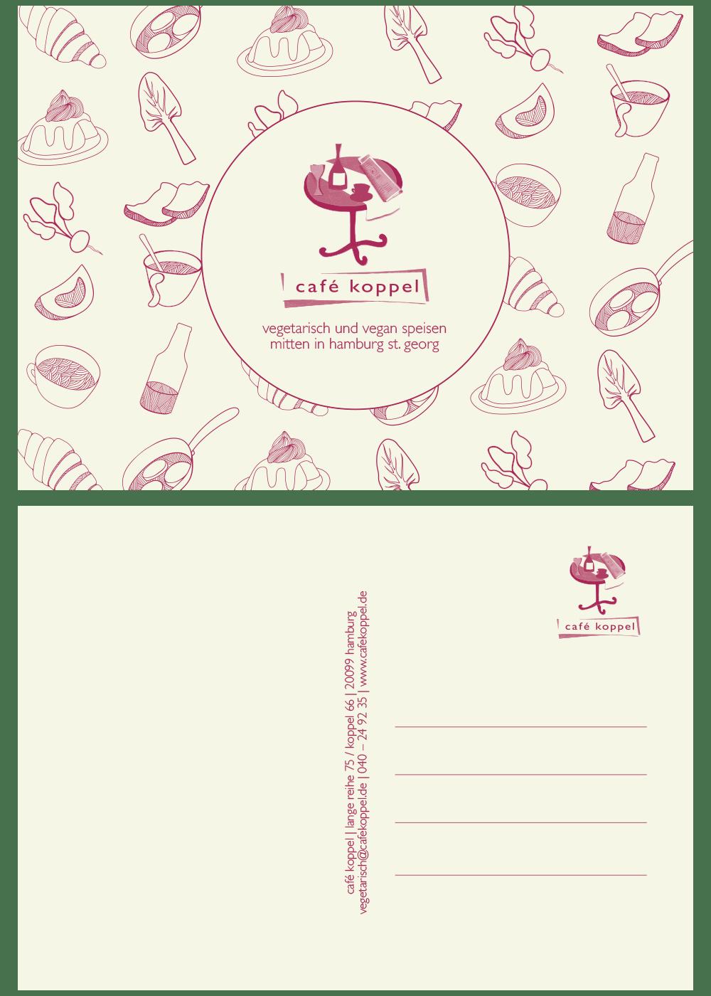 Heidschnack Grafikdesign aus Lüneburg zeichnet sich auch für die Flyer des Cafe Koppel verantwortlich.
